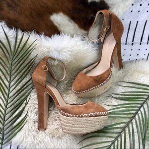 Zara Basic suede platform heels sz 39 tan